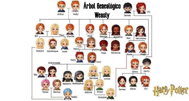 El árbol genealógico de la familia Weasley Harry Potter